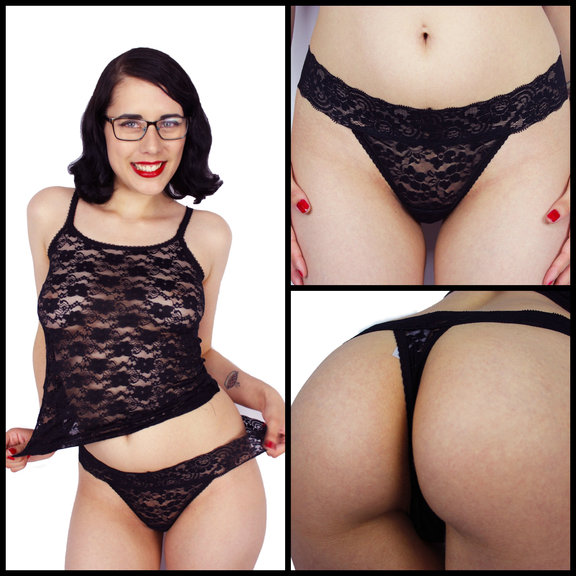 Black Lace & Cotton Thong